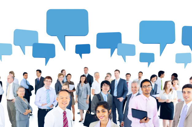 crowd of business people with speech bubbles above them