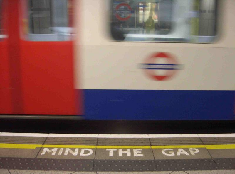 tube platform with Mind the Gap message