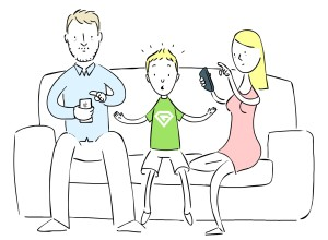 Glued's family using their phones and tablets