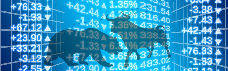 Abstract representation of the stock exchange: bulls, bears and numbers on screens